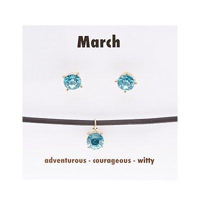 March Birthstone Choker Necklace & Earrings Set