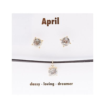 April Birthstone Choker Necklace & Earrings Set