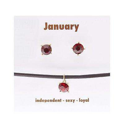 January Birthstone Choker Necklace & Earrings Set