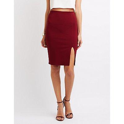 Ponte Slit Pencil Skirt