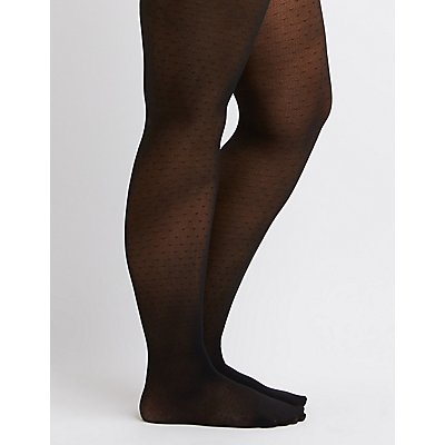 Plus Size Semi-Sheer Dotted Tights