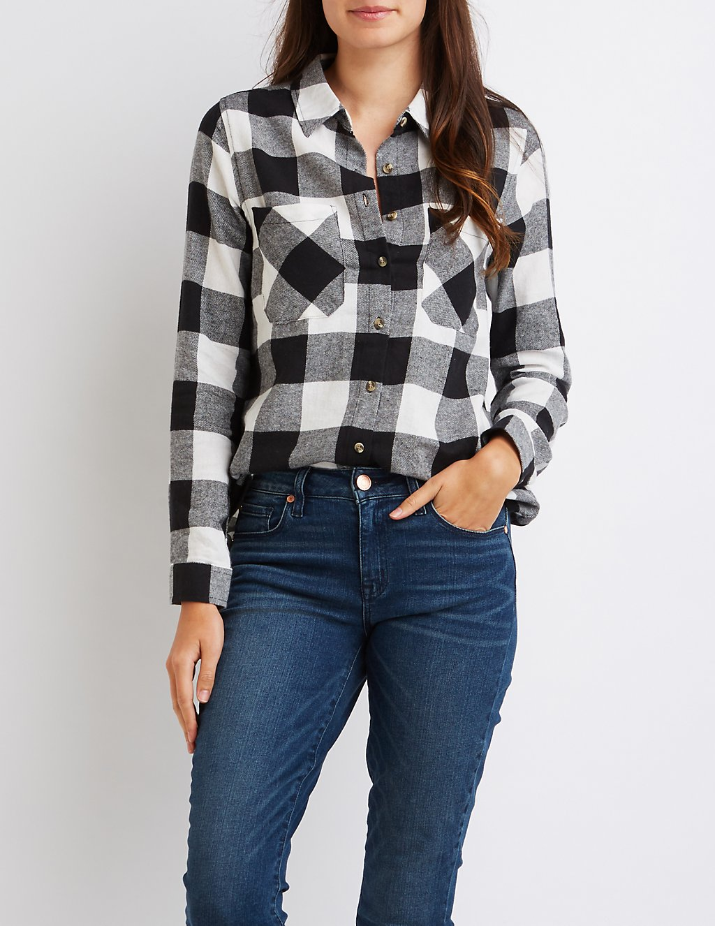 ralph lauren for less - woman wearing buffalo plaid shirt