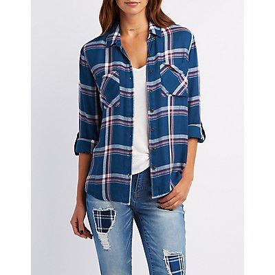 Flyaway Plaid Button-Up Shirt