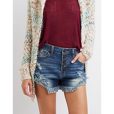 Refuge Hi-Rise Cheeky Denim Shorts