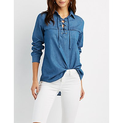Chambray Lace-Up Shirt