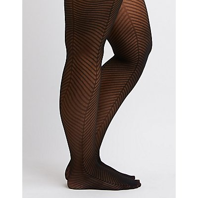 Plus Size Semi-Sheer Chevron Stripe Tights