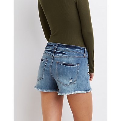 "Refuge ""Girlfriend"" Cut-Off Denim Shorts"