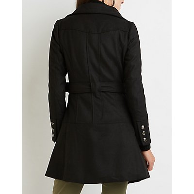 Wool Blend Double-Breasted Trench Coat