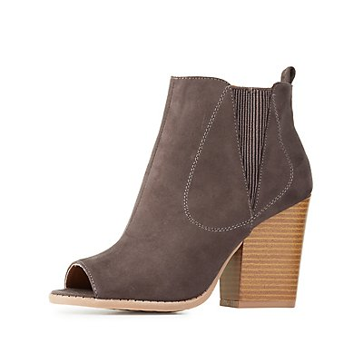Side Gore Peep Toe Ankle Booties