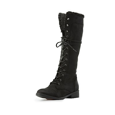 Qupid Knee-High Combat Boots