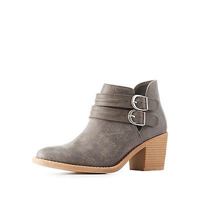 Qupid Double Buckle Booties