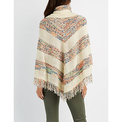 Chevron Cowl Neck Fringed Poncho