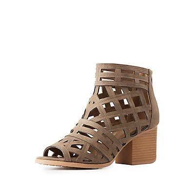 Qupid Laser Cut Peep Toe Booties