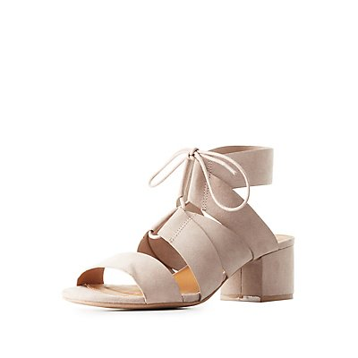 Low Heel Lace-Up Sandals