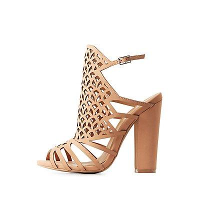 Qupid Laser Cut Dress Sandals