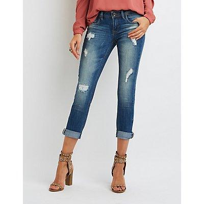 Dollhouse Distressed Cropped Boyfriend Jeans