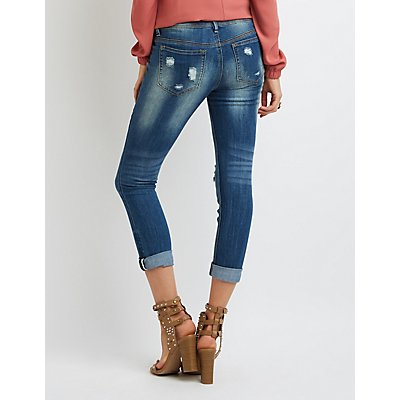 Dollhouse Distressed Cropped Boyfriend Jeans