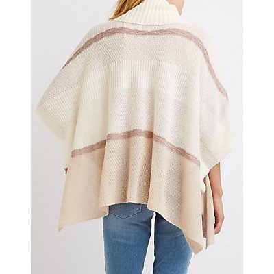 Cowl Neck Striped Poncho Sweater
