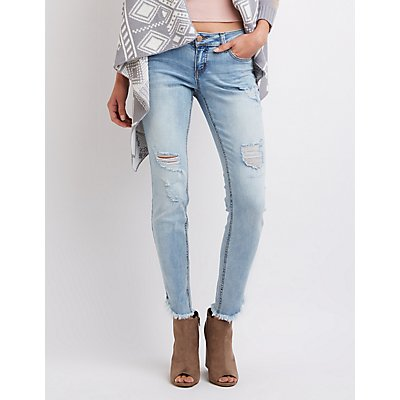 Dollhouse Frayed Hem Destroyed Skinny Jeans
