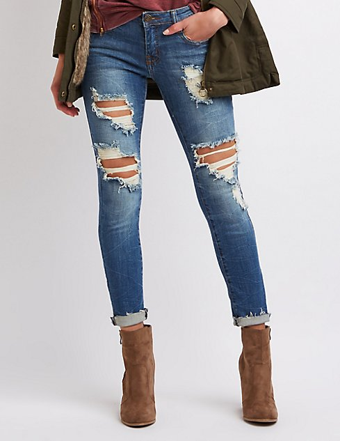 Machine Jeans Destroyed Skinny Jeans | Charlotte Russe