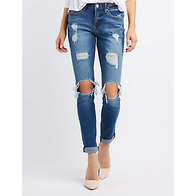 Refuge Skinny Boyfriend Destroyed Jeans
