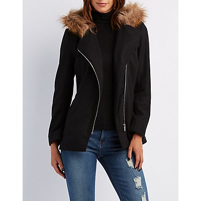 Faux Fur-Trim Hooded Asymmetrical Coat