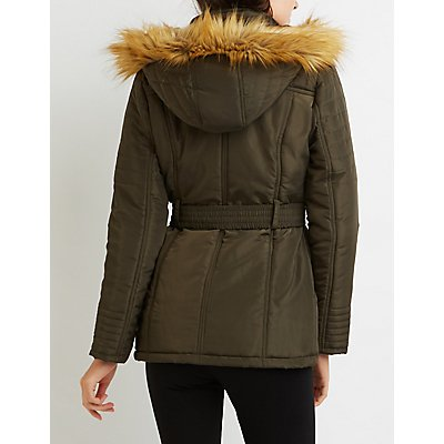Faux Fur-Trim Hooded Puffer Jacket