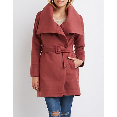 Asymmetrical Wool-Blend Trench Coat