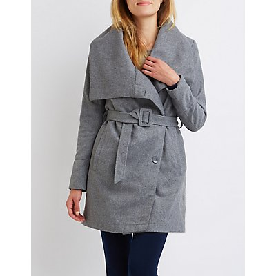 Asymmetrical Wool-Blend Trench Coat