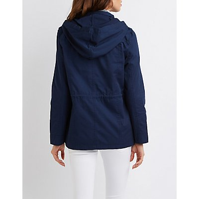 Hooded Drawstring Anorak Jacket