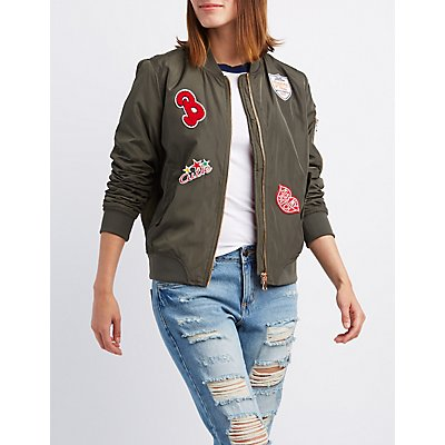 Patch Zip-Up Bomber Jacket