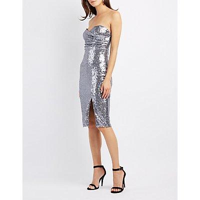 Sequin Strapless Bodycon Dress