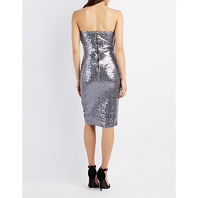 Sequin Strapless Bodycon Dress