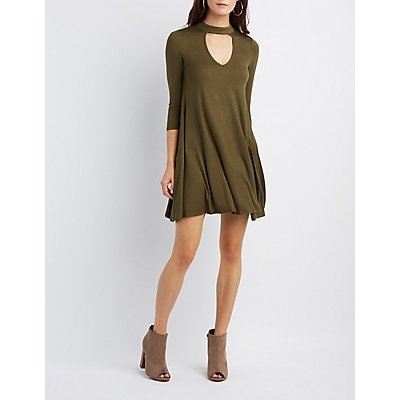 Mock Neck Keyhole Shift Dress