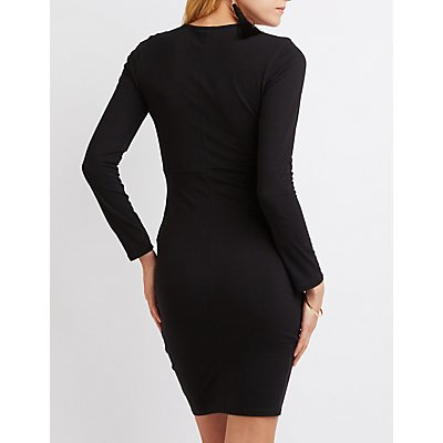 Surplice Bodycon Midi Dress