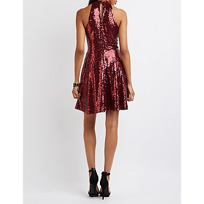 Sequin Mock Neck Skater Dress
