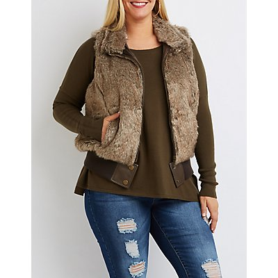 Plus Size Ribbed Faux Fur Vest