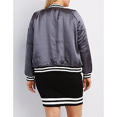 Plus Size Satin Varsity Stripe Bomber Jacket