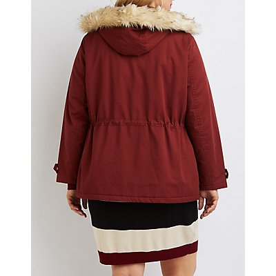 Plus Size Faux Fur Hooded Anorak Jacket
