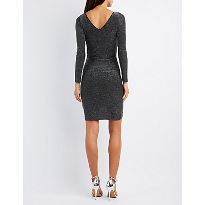 Shimmer Striped Bodycon Dress