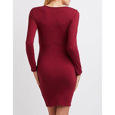 Surplice Bodycon Midi Dress