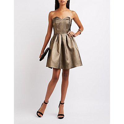 Metallic Strapless Skater Dress