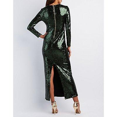Sequin Plunging Maxi Dress