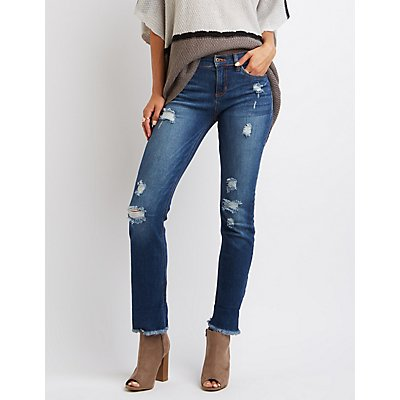 Sneak Peek Frayed Hem Destroyed Boyfriend Jeans