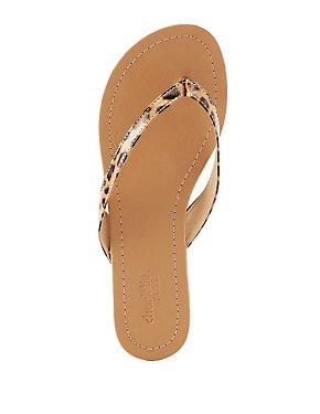 Leopard Print Thong Sandals