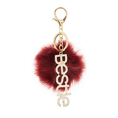 """Bestie"" Faux Fur Ball Keychain"