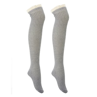Ruffled Crochet-Trim Over-The-Knee Socks