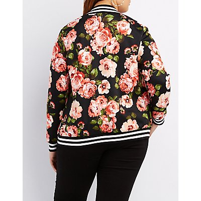 Plus Size Floral Striped Bomber Jacket