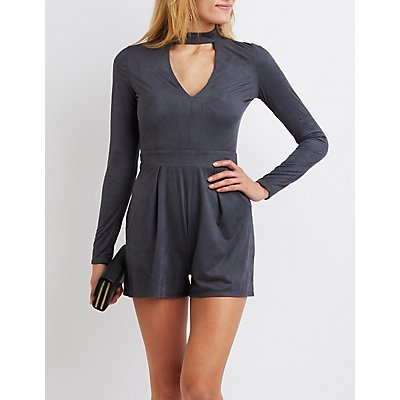 Faux Suede Cut-Out Mock Neck Romper