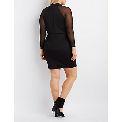 Plus Size Mesh-Sleeve Bodycon Dress
